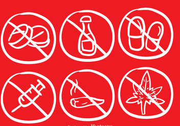 No Drugs Sketch Draw Icons - vector gratuit(e) #304233