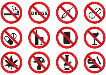 No Drugs Icons - vector #304253 gratis