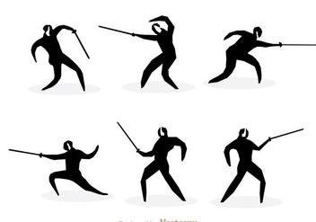 Fencing Silhouette Vectors - бесплатный vector #304383