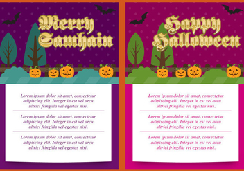Samhain And Halloween Cards - Free vector #304413
