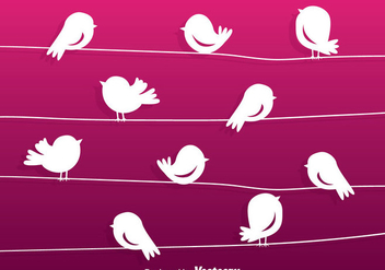 Cartoon Bird Silhouette On A Wire Vector - Kostenloses vector #304943