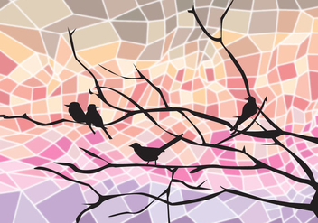 Bird on Tree Branch Abstract - Free vector #305033