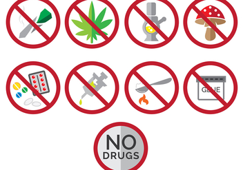 Say no to drugs icons - Free vector #305113