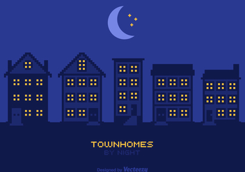 Free Townhomes By Night Vector - Free vector #305473