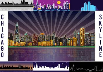 Free Chicago Skyline Night Vector - Free vector #305783