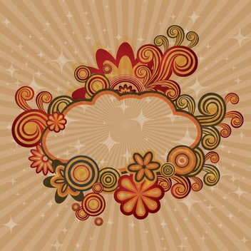 Retro Swirls Cloud Card - vector gratuit(e) #305903