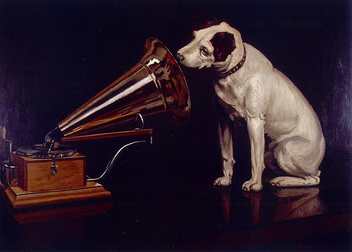 Dog Looking at and Listening to a Phonograph,