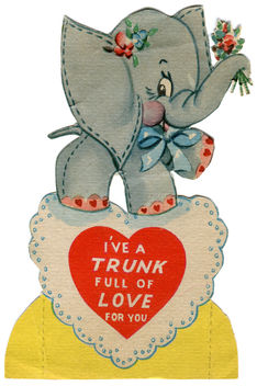 vintage valentine card: elephant - Kostenloses image #308873
