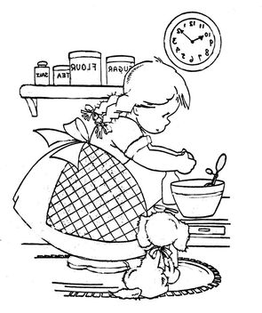 cooking girl and puppy - image gratuit #309593