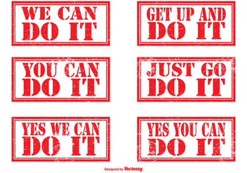 Motivational Rubber Stamp Set - Free vector #317503