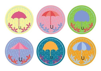 Spring Shower Umbrella Vectors - Free vector #317533