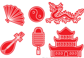 Chinese Culture Red Icons - vector #326763 gratis