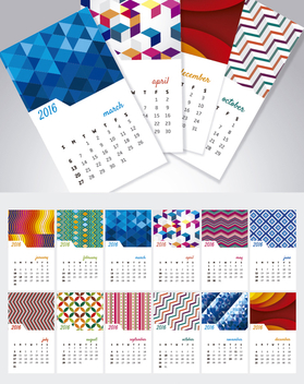 Calendar 2016 Separated months with backgrounds - Free vector #327183