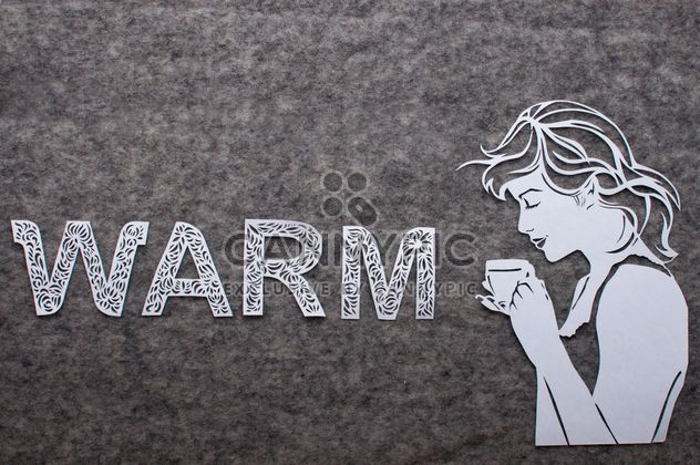 Girl with cup of coffee and word warm made of laced letters - Free image #327303
