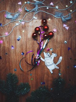 Little paper fox flying with the Christmas decorations - бесплатный image #327343