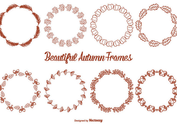 Cute Hand Drawn Style Autumn Frame Set - Free vector #327363