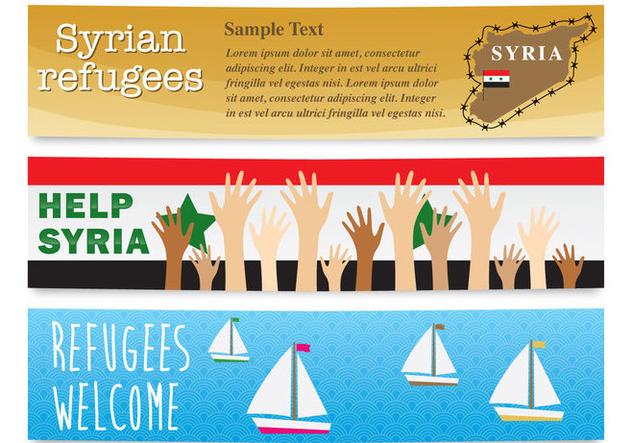 Refugee Banner Vectors - Free vector #328293