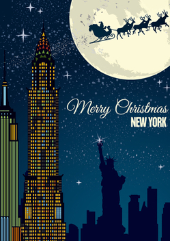 Christmas in New York postcard - Free vector #328363