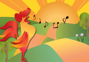 Rooster Giving Good Morning - Free vector #328853