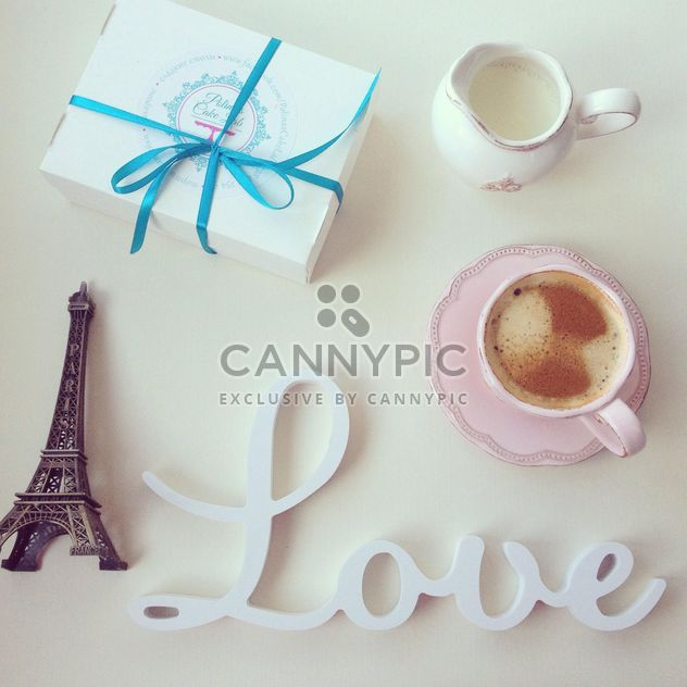Word Love, cup of coffee and box of macaroons - Free image #329073