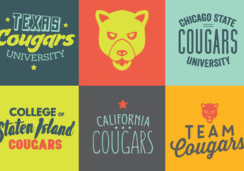 Vector Set of Cougar Logos and Labels - Free vector #329353