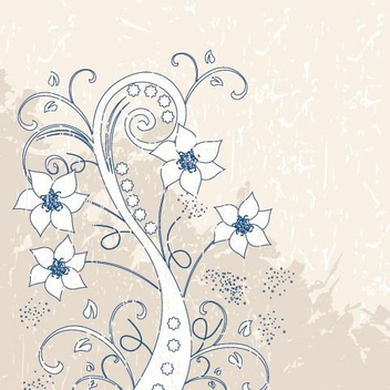 Grungy Vintage Swirling Plant - Free vector #329563