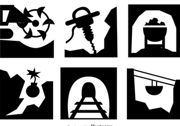 Gold Mine Digging Process Icons - Free vector #329743