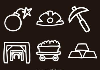 Gold Mine Doodle Icon Vectors - Free vector #329753