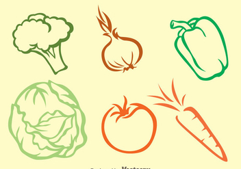 Vegetable Colors Outline Icons - vector gratuit #329803