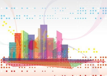 Abstract Colorful Modern Cityscape - Free vector #329843