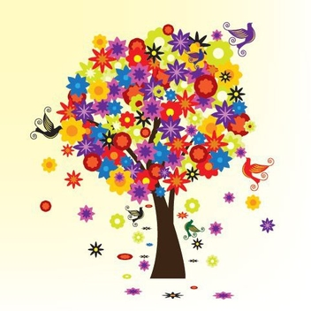 Colorful Blooming Tree with Birds - vector gratuit #330823