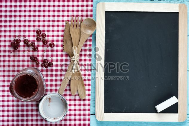Serving stuff with cherry jam in glass jar - Free image #330903