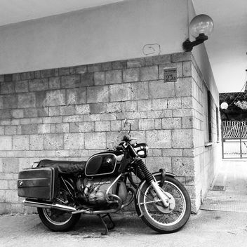 BMW motorcycle, black and white - image gratuit #331213