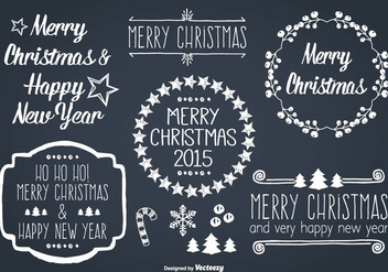 Hand Drawn Style Christmas Label Set - Kostenloses vector #331453