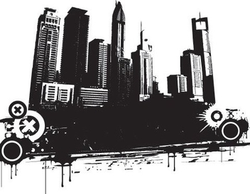 Grungy Black White Cityscape Silhouette - Free vector #333073
