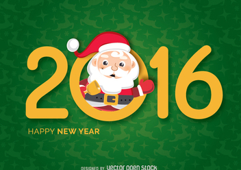 New Year 2016 Santa saying hello - Free vector #333083