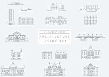 Free Vector Collection of Linear Icons and Illustrations with Buildings - Free vector #333503