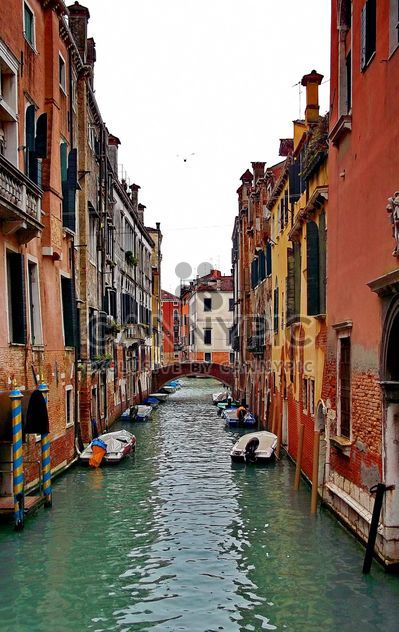 Gondolas on canal in Venice - Free image #333623