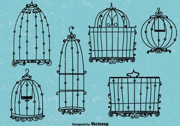 Doodle vintage style bird cage vectors - vector gratuit #333833