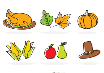 Thanksgiving Cartoon Icons - Free vector #333853