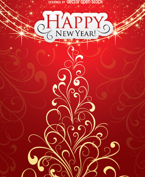 Happy new year and christmas card - Free vector #334123