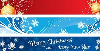 3 Multicolor Christmas Banners - vector gratuit #334503