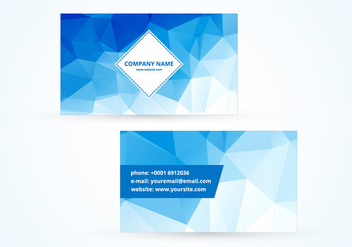 Blue polygonal vector business card - vector gratuit #334653