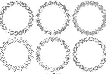 Doodle Flower Frame Set - Kostenloses vector #334883