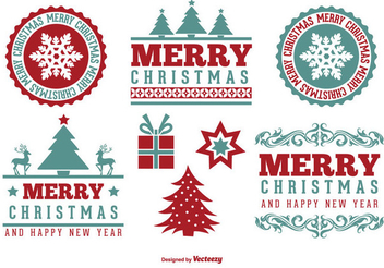 Vintage Christmas Label Set - Kostenloses vector #334913