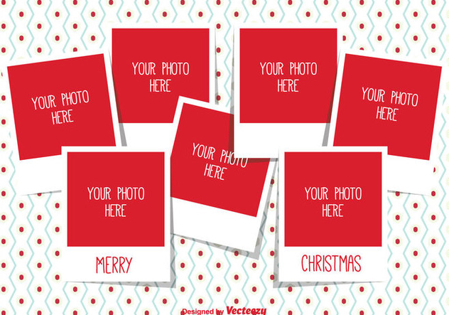 Christmas Photo Collage Template - бесплатный vector #335293