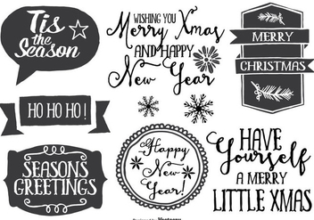 Cute Messy Hand Drawn Style Christmas Label Set - vector #335403 gratis