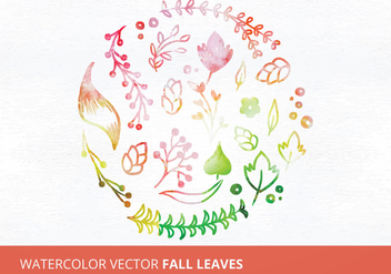 Watercolor Vector Fall Leaves - vector gratuit(e) #335483