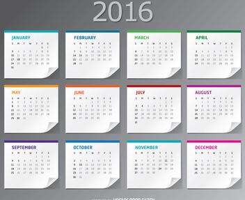 2016 paper sheets desktop Calendar - Free vector #335653
