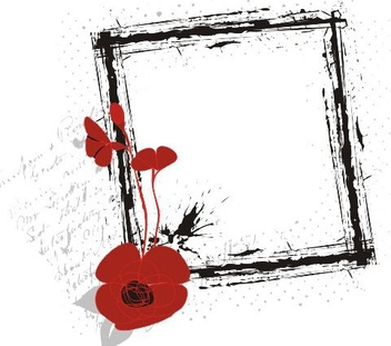 Grungy Square Red Flower Banner - vector gratuit #335683